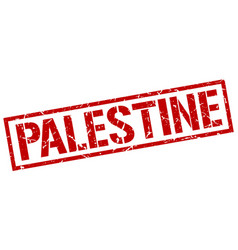 Palestine red square stamp vector