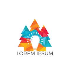 pine tree and bulb logo design vector image