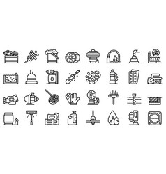 Pool cleaning icons set outline style vector