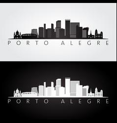 porto alegre skyline and landmarks silhouette vector image