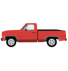 Powerful red modern pick-up truck vector