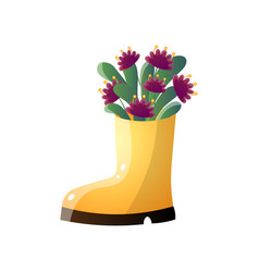 purple flowers in creative vase like yellow boot vector image