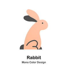 rabbit mono color icon vector image