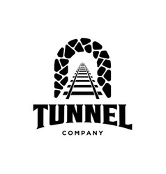 rail with tunnel logo design template vector image