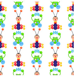 Rattle frog and bug playthings on wrapping paper vector