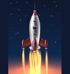 Realistic metal rocket launch background poster vector