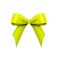 realistic shiny green-yellow satin bow isolated vector image