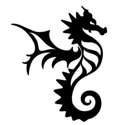 Seahorse tattoo marine life icon vector