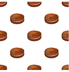 seamless pattern with chocolate macaroon on white vector image
