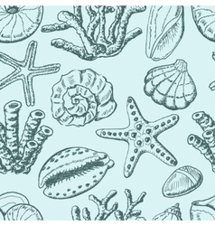 Seamless pattern with shells coral and starfish vector image