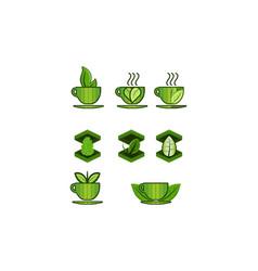 set healthy food and drink logo designs vector image