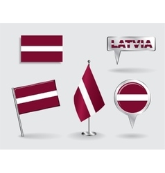 Set of Latvian pin icon and map pointer flags vector