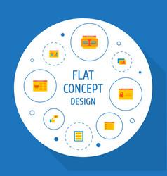 set of website development icons flat style vector image