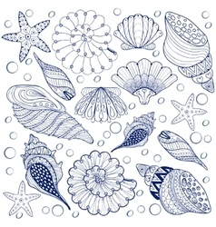 set Shells zentangle blue seashells for vector image