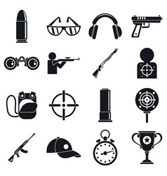 Shooting sport icons set simple style vector