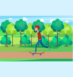 skateboarder moving on high speed green skatepark vector image
