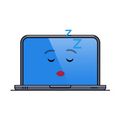 sleeping laptop computer isolated emoticon vector image