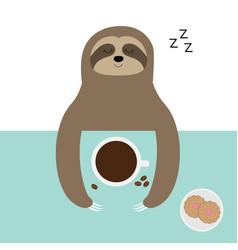Sloth sleeping i love coffee cup biscuit cookie vector