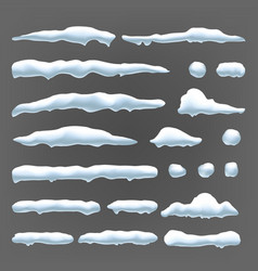 snow caps snowball and snowdrift winter vector image