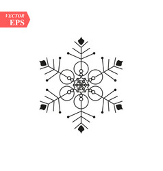 snowflake icon flat in black vector image