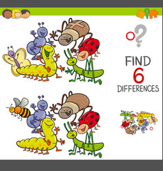Spot the differences with cute insects vector