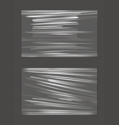 Stretched cellophane banner crumpl folded texture vector