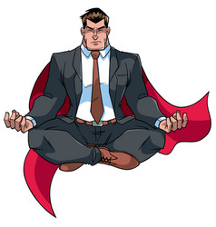 super businessman meditating on white vector image