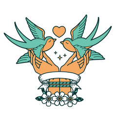 Tattoo with banner a tied hands and swallows vector