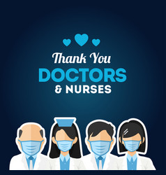 thank you doctor nurse medical staff for greeting vector image