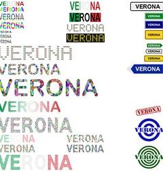 Verona text design set vector