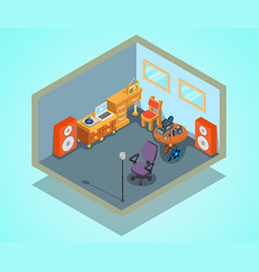 Video editing concept banner isometric style vector