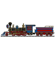 vintage american wild west steam locomotive vector image