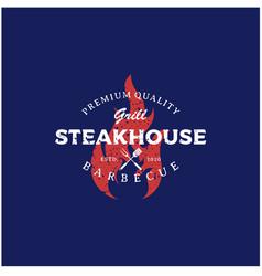 Vintage bbq grill barbecue barbecue logo design vector