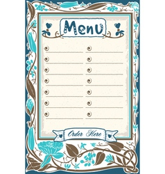 Vintage Candid Menu in Blue vector