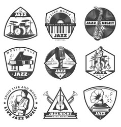 Vintage monochrome jazz music labels set vector