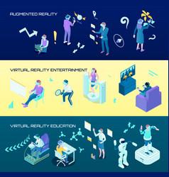 virtual reality isometric horizontal banners vector image