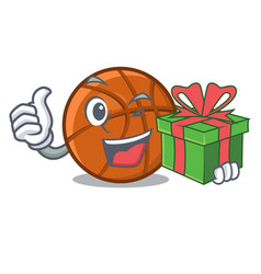 With gift basket ball isolated in mascot vector