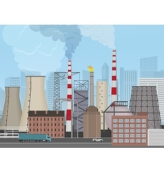 Plant factory on the city background Industrial vector image vector image