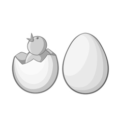 Chick in egg icon black monochrome style vector image