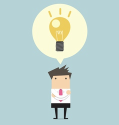 Creative businessman get the idea under a lightbul vector image