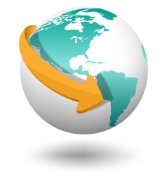Emblem with white globe and orange arrow isolated vector image