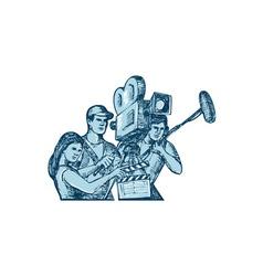 Film Crew Clapperboard Cameraman Soundman Drawing vector image vector image