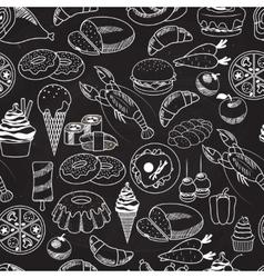 Seamless Food on Chalkboard Background vector image vector image