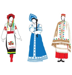 Women in their national costumes vector image vector image