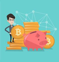 businessman putting a bitcoin coin into piggy bank vector image