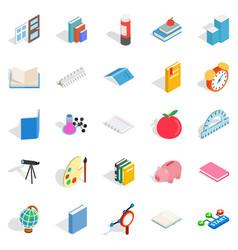 college school house icons set isometric style vector image