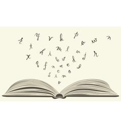 flying letters from old open book vector image