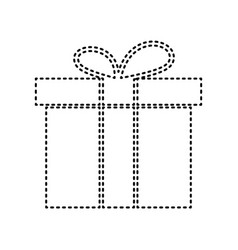 gift box sign black dashed icon on white vector image
