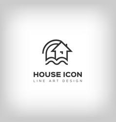 house logo home icon thin line art design vector image vector image