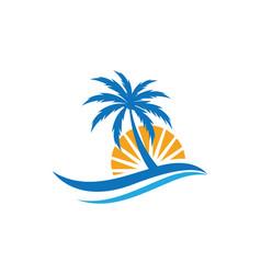 Palm tree summer logo template vector